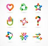 Samling av abstrakta färgrika affärssymboler royaltyfri illustrationer