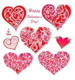 Samling av abstrakta röda hjärtaformer vektor illustrationer
