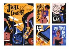 Samling av affisch-, plakat- och reklambladmallar för jazzmusikfestivalen, konsert, händelse med musikinstrument stock illustrationer
