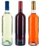 Samling av alkohol för ros för vit för viner för vinflaskor isolerad röd royaltyfri bild