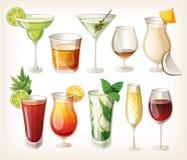 Samling av alkoholdrinkar. Royaltyfria Foton