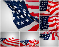 Samling av amerikanska flaggan Arkivbild