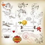 Samling av antika calligraphic beståndsdelar för valentindesign Arkivbild