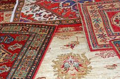 Samling av antika orientaliska mattor Royaltyfri Fotografi