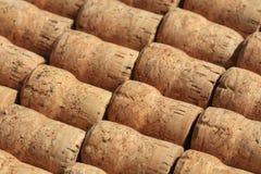 Samling av använda vin- och mousserande vinkorkar Arkivbilder