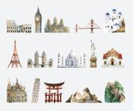 Samling av arkitektoniska gränsmärken som målas av vattenfärgen royaltyfri illustrationer