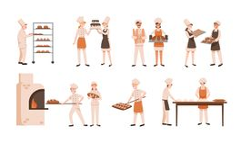 Samling av att le män och kvinnor som bakar bröd och gör isolerad sötsaker på vit bakgrund Packe av mannen och stock illustrationer