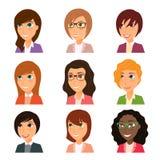 Samling av avatars av olika tecken för unga kvinnor stock illustrationer