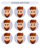 Samling av avatars, sinnesrörelser, skäggig man Fotografering för Bildbyråer