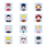 Samling av avatars som visar jobb vektor illustrationer