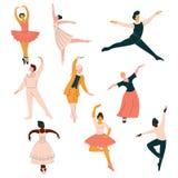 Samling av balettdansörer, män och kvinnor som dansar den klassiska dansvektorillustrationen stock illustrationer