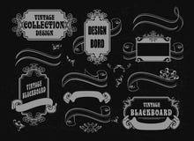 Samling av baner och gränser på en svart backg stock illustrationer
