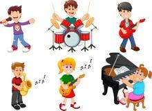 Samling av barn som sjunger och spelar musikinstrument stock illustrationer