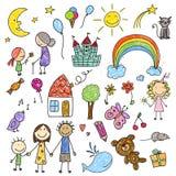 Samling av barnteckningar Arkivfoton