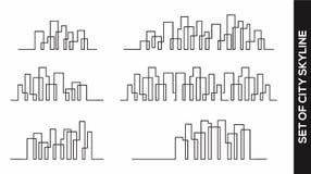 Samling av begreppet för design för stadshorisontvektor stock illustrationer