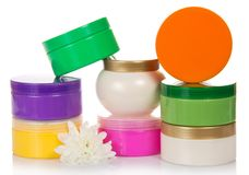 Samling av behållare för kosmetiska lättheter royaltyfri bild