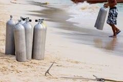 Samling av behållare för luft för dykapparatdykning Royaltyfria Bilder