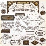 Samling av beståndsdelar och etiketter för tappningvektordesign Royaltyfri Fotografi