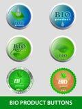 Samling av bio produktknappar, symboler Royaltyfri Foto