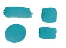 Samling av blåa vattenfärgdesignbeståndsdelar som isoleras på vit bakgrund Royaltyfri Foto