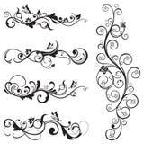 Samling av blom- konturdesigner för tappning vektor illustrationer