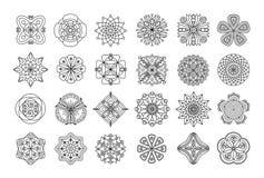 Samling av blom- mandalabeståndsdelar för klotter i svartvitt fotografering för bildbyråer