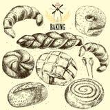 Samling av bröd tecknad hand Royaltyfri Foto