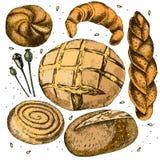 Samling av bröd tecknad hand Royaltyfri Bild