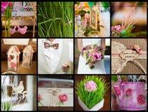 Samling av bröllopdetaljer Arkivfoto