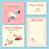 Samling av bröllopinbjudankort med gulliga färgrika illustrationer Royaltyfria Bilder