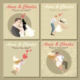 Samling av bröllopinbjudankort med gulliga färgrika illustrationer av ett par Royaltyfri Bild