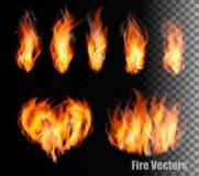 Samling av brandvektorer - flammor och en hjärta formar Arkivfoto