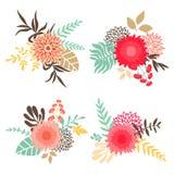 Samling av buketter med blommor och sidor Royaltyfri Foto