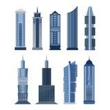 Samling av byggnader för stadsdesign vektor Arkivfoto