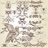Samling av calligraphic designbeståndsdelar och krusidullar för vektor stock illustrationer