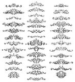 Samling av calligraphic krusidullar för tappning royaltyfri illustrationer
