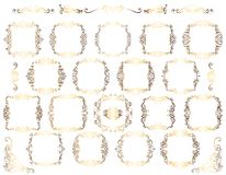 Samling av calligraphic krusidullar för tappning stock illustrationer