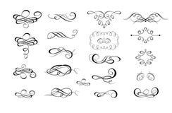 Samling av calligraphic krusidullar och sidalinjaler vektor illustrationer