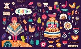 Samling av Chile symboler stock illustrationer