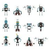 Samling av cyan robotsymboler vektor illustrationer