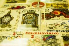 Samling av Czechoslovak portostämplar arkivbild