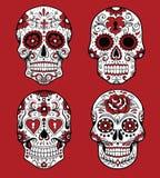 Samling av dagen av de döda skallevektorillustrationerna stock illustrationer
