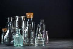 Samling av dekorativa flaskor Fotografering för Bildbyråer