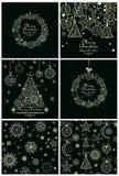 Samling av dekorativa julkort och bakgrunder Arkivfoton