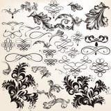 Samling av dekorativa krusidullar för vektor vektor illustrationer
