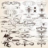 Samling av dekorativa krusidullar för vektor i tappningstil för Royaltyfria Bilder