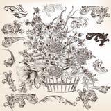Samling av dekorativa krusidullar och virvlar för vektor för design stock illustrationer