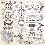 Samling av dekorativa och calligraphic elemen för vektortappning Royaltyfria Bilder