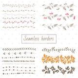 Samling av dekorativa sömlösa gränser stock illustrationer