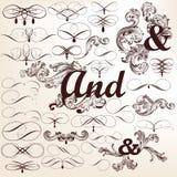 Samling av dekorativa virvlar och krusidullar för vektor stock illustrationer